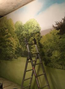 garden backdrop painting